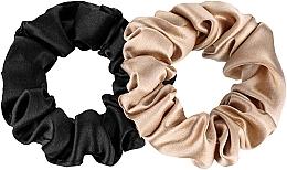 Perfumería y cosmética Coletero de seda natural, 2ud., negro y bronce - Makeup Scrunchie Set Black Gold, Midi