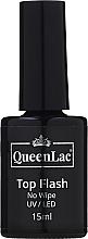 Perfumería y cosmética Top coat no pegajoso, UV/LED - QueenLac Top Flash No Wipe UV/LED