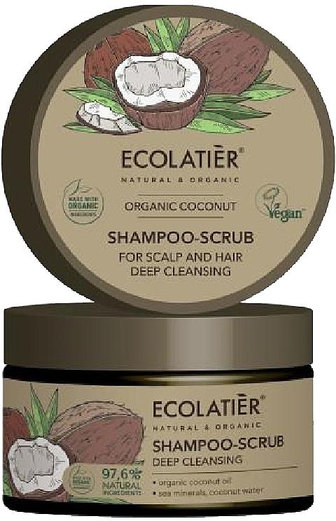 Champú-exfoliante para cabello y cuero cabelludo con aceite orgánico de coco, vegano - Ecolatier Organic Coconut Shampoo-Scrub