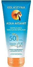 Perfumería y cosmética Emulsión hidratante de protección solar con ácido hialurónico, resistente al agua - Kolastyna Aqua Aksamit SPF50