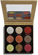 Perfumería y cosmética Paleta de sombras de ojos brillantes con espejo - Makeup Revolution Pressed Glitter Palette Midas Touch