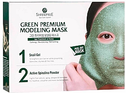 Perfumería y cosmética Mascarilla calmante peel off con baba de caracol, polvo de espirulina y extracto de centella asiática - Shangpree Green Premium Modeling Mask