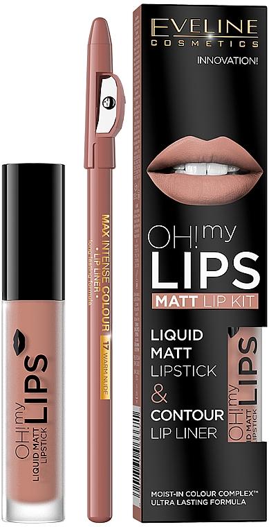 Eveline Cosmetics Oh! My Lips(lápiz labial líquido/4.5/g+ delineador labial/1/g) - Set labial