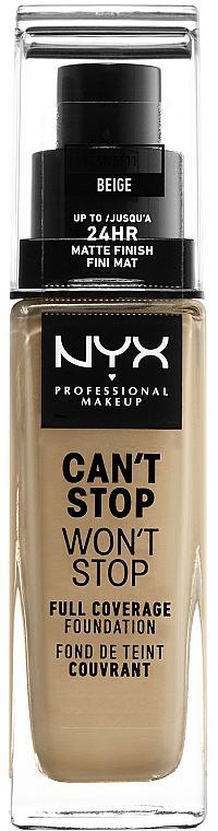 Base de maquillaje ligera resistente al agua, acabado mate de larga duración - NYX Professional Makeup Can't Stop Won't Stop Full Coverage Foundation
