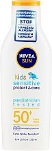 Perfumería y cosmética Loción protectora solar para niños, SPF 50+ - Nivea Sun Kids Pure & Sensitive Sun Lotion SPF50+