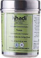 Perfumería y cosmética Mascarilla facial vegetal 100% natural con extracto de neem - Khadi, Neem