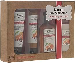 Perfumería y cosmética Set corporal de naranja y arándano - Nature de Marseille (loción/150ml + gel de ducha/100ml + crema de manos/60ml + bálsamo/90g)