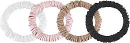 Perfumería y cosmética Coletero de seda natural, 4uds., blanco, rosa, negro y bronce - Makeup Scrunchie Set Black Milk Powder Gold, Skinny