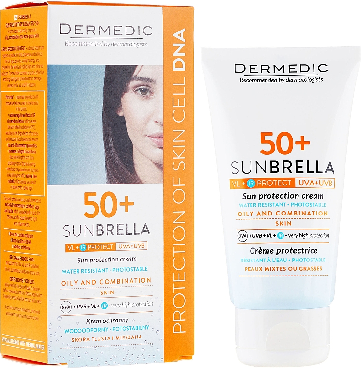 Crema protectora solar facial con extractos de romero y ortiga, resistente al agua SPF 50+ - Dermedic Sunbrella Sun Protection Cream Oily and Combination SPF50 — imagen N1