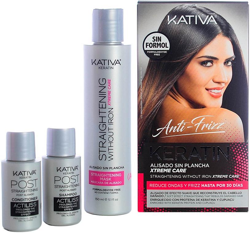 Set para cabello - Kativa Anti-Frizz Straightening Without Iron Xtreme Care (mascarilla/150ml + champú/30ml + acondicionador/30ml)
