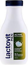 Perfumería y cosmética Gel de ducha para cuerpo, rostro y cabello con ácido láctico - Lactovit Men Active 3v1 Shower Gel