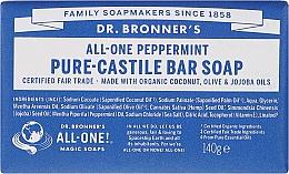 Perfumería y cosmética Jabón orgánico de coco, oliva y jojoba con menta - Dr. Bronner's Pure Castile Bar Soap Peppermint