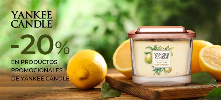 Descuentos del 20% en productos promocionales de la marca Yankee Candle. Los precios indicados tienen el descuento aplicado