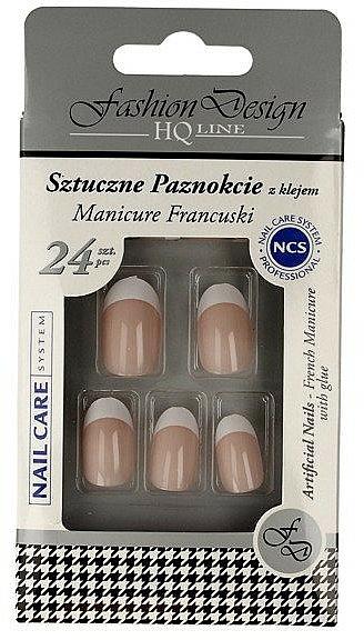 Uñas postizas con pegamento incluido, manicura francesa 77951 - Top Choice Fashion Design