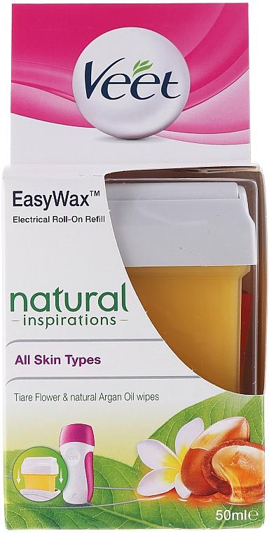 Cartucho de cera depilatoria liposoluble roll-on con aceite de argán - Veet Easy Wax Natural Inspirations
