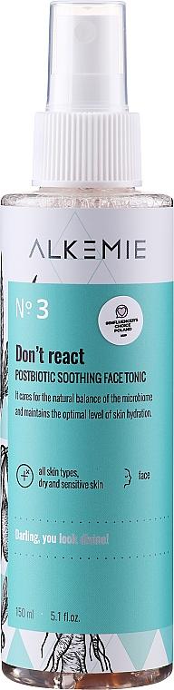 Tónico facial postbiótico natural con extracto de bardana y pimienta tasmán - Alkemie Microbiome Dont React Face Tonic