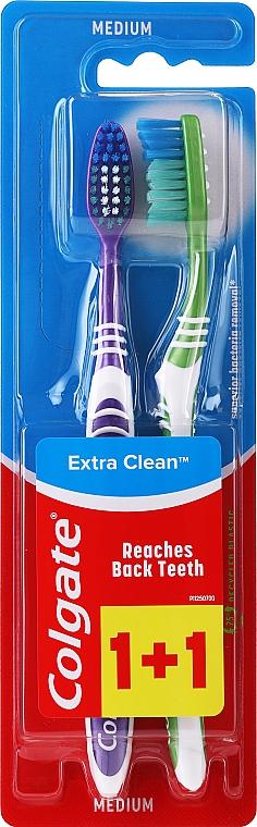Cepillos dentales de dureza media, violeta + verde - Colgate Extra Clean Medium