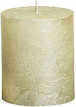 Perfumería y cosmética Vela decorativa, cilindro, 80/68mm - Bolsius Candle Metallic Ivory