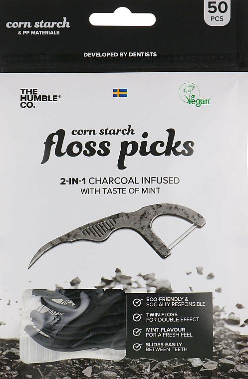 Hilo dental flosser, negro, 50uds. - The Humble Co. Dental Floss Picks