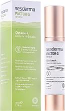 Perfumería y cosmética Tratamiento rejuvenecedor para rostro, cuello y escote con nicotiana, ácido hialurónico y biotina - SesDerma Laboratories FactorG Renew Oval face & Neck