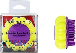 Perfumería y cosmética Cepillo de pelo desenredante compacto, amarillo con lila - Rolling Hills Brosse Desenredar Flower