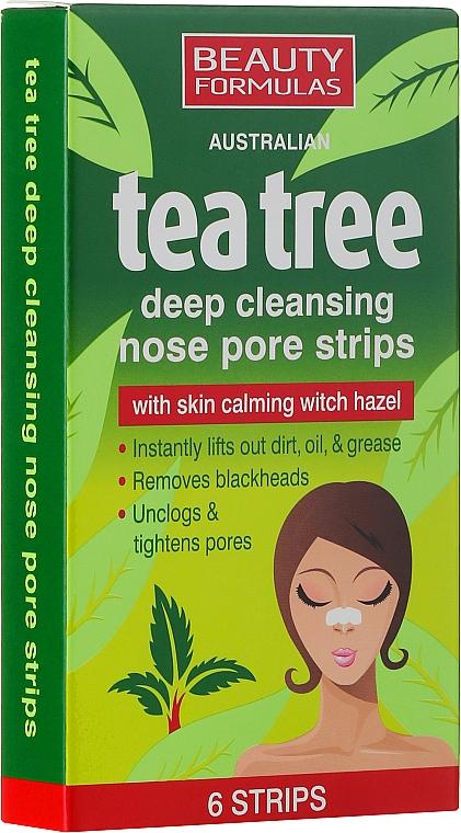 Tiras limpiadoras de poros con extracto de hamamelis - Beauty Formulas Tea Tree Deep Cleansing Nose Pore Strips