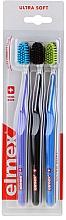 Perfumería y cosmética Cepillos de dientes ultrasuaves, lila+negra+azul - Elmex Swiss Made