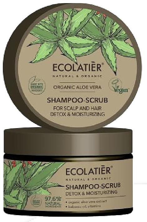Champú-exfoliante para cabello y cuero cabelludo con extracto orgánico de aloe vera, vegano - Ecolatier Organic Aloe Vera Shampoo-Scrub
