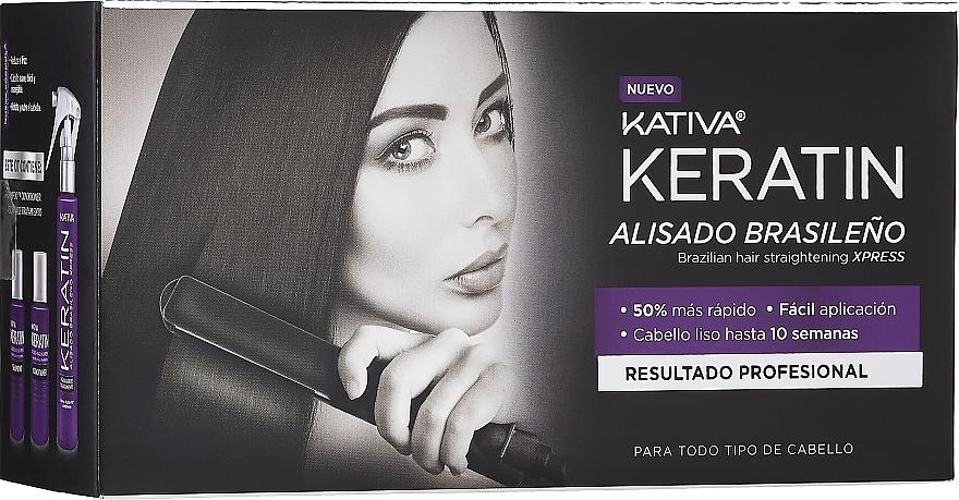 Set de alisado capilar - Kativa Keratin (champú/35ml + bálsamo/35ml + mascarilla/100ml)