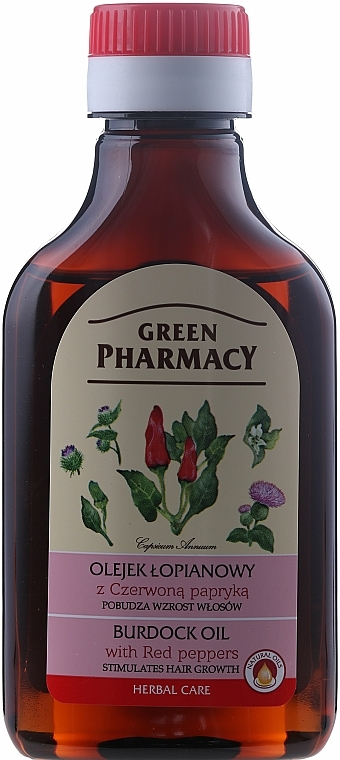 Aceite de bardana con pimentón para el crecimiento del cabello - Green Pharmacy