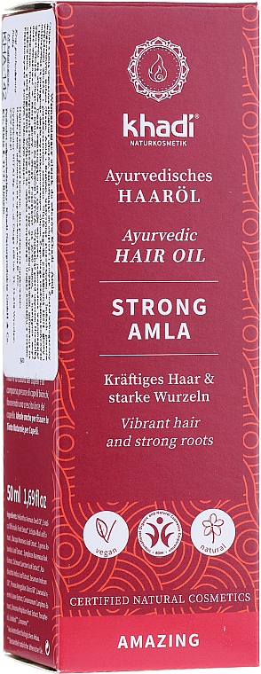 Aceite para cabello fortificante con extracto de amla, vegano - Khadi Ayuverdic Strong Amla Hair Oil