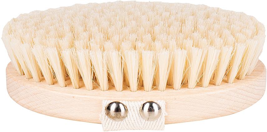 Cepillo de baño y masaje corporal con fibra de cactus suave, marrón claro - Miamed