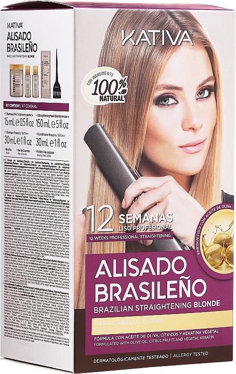 Set de alisado brasileño con queratina para cabello claro - Kativa Alisado Brasileno Straighten Blonde (champú/15ml + mascarilla/150ml + champú/30ml + acondicionador/30ml)