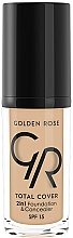 Perfumería y cosmética Base de maquillaje correctora 2en1 con vitamina E y SPF 15 - Golden Rose Total Cover 2in1 Foundation & Concealer
