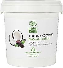 Perfumería y cosmética Crema de masaje natural con aceite de coco y manteca de cacao - Bulgarian Rose Herbal Care Cocoa & Coconut Massage Cream Odorless