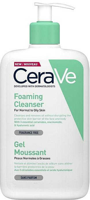 Gel limpiador para rostro y cuerpo con ceramidas y ácido hialurónico - CeraVe Foaming Cleanser