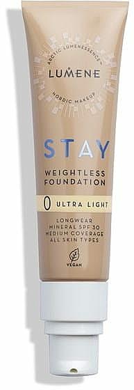 Base de maquillaje mineral de cobertura media y larga duración, SPF 30 - Lumene Stay Weightless Foundation Longwear Mineral SPF 30