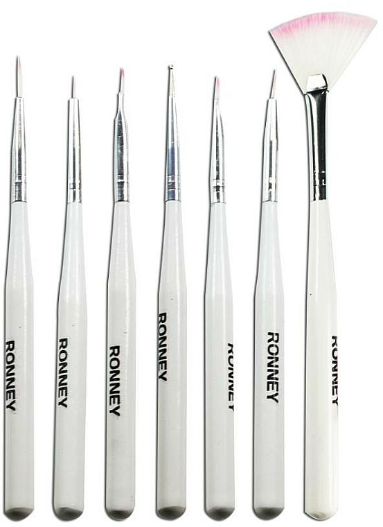 Set pinceles de manicura con cerdas flexibles - Ronney Professional, RN 00470 (7uds.)