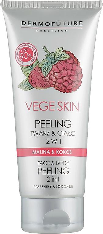 Exfoliante facial y corporal con frambuesa & coco - DermoFuture Vege Skin Face & Body Peeling Raspberry & Coconut
