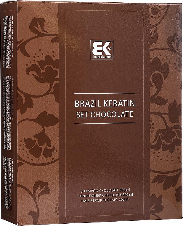 Set para cabello con queratina - Brazil Keratin Intensive Repair Chocolate (champ/300ml + acond./300ml + sérum/100ml)