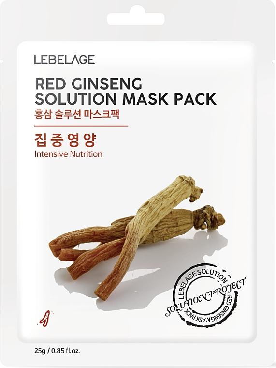 Mascarilla facial de tejido con ginseng rojo - Lebelage Red Ginseng Solution Mask