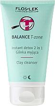 Perfumería y cosmética Arcilla limpiadora para rostro, cuello y escote con aceite de rosa 2 en 1 - Floslek Balance T-zone Instant Detox 2in1 Clay Cleanser