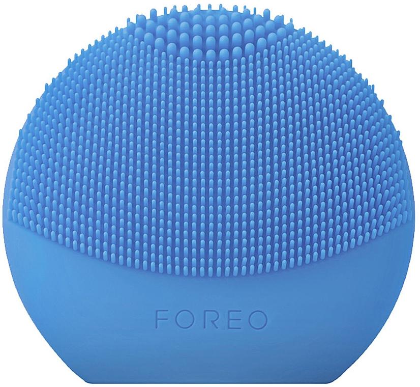 Cepillo de limpieza facial inteligente de silicona 2 en 1, azul - Foreo Luna Fofo Smart Facial Cleansing Brush Aquamarine