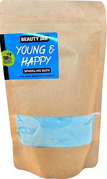 Polvo de baño efervescente con aceite de almendras dulces y vitamina E, aroma floral - Beauty Jar Young and Happy Sparkling Bath