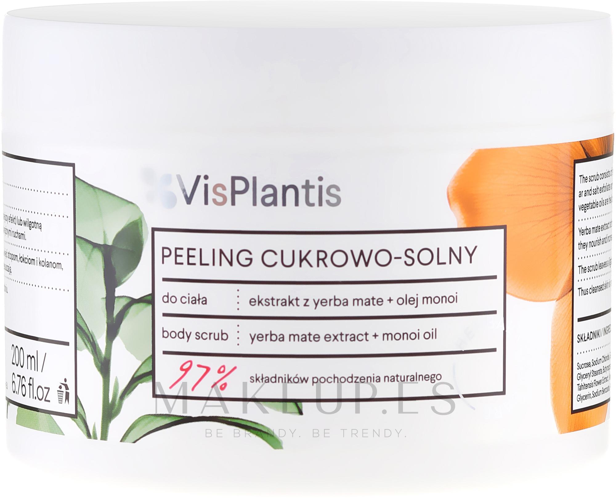 Exfoliante corporal con extracto de yerba mate & aceite de monoi - Vis Plantis Sugar & Salt Body Scrub — imagen 200 ml