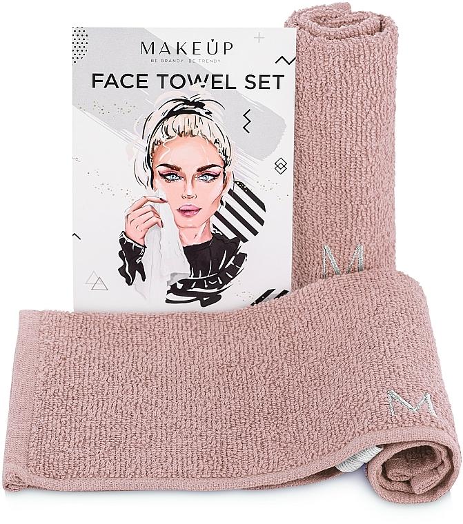 "Set toallas para rostro, beige ""MakeTravel"" - Makeup Face Towel Set"