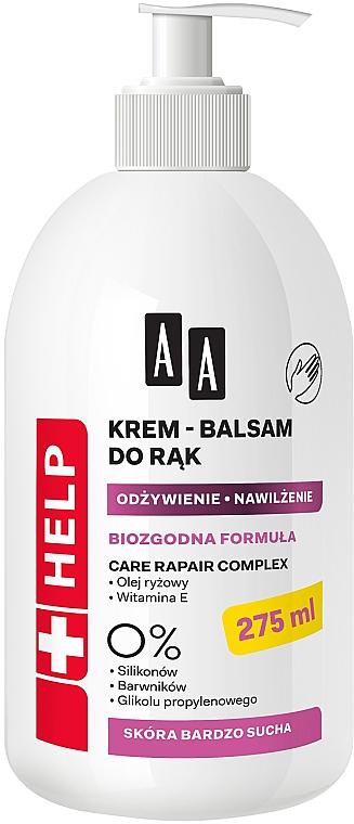 Crema-bálsamo de manos con aceite de arroz & vitamina E para pieles muy secas - AA Help Hand Cream-Balm