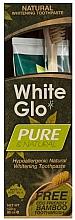 Perfumería y cosmética Set dental - White Glo Pure & Natural (pasta/85ml + cepillo de bambú/1)