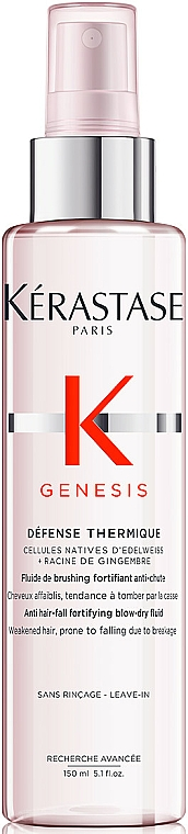 Fluido anticaída para cabello debilitado con células nativas de edelweiss - Kerastase Genesis Anti Hair-Fall Fortifying Blow-dry Fluid