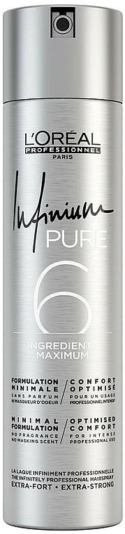 Laca hipoalergénica sin perfume, fijación extra fuerte - L'Oreal Professionnel Infinium Pure Extra Strong